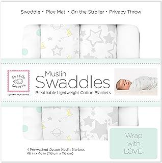 SwaddleDesigns 平纹布襁褓毯子,晚安星光,4 条