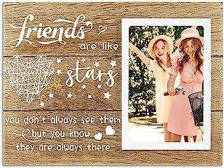 Best Friend 女士相框礼物,可爱的木制相框带单人床,悬挂或垂直,生日毕业的友谊礼物,10.24 x 15.24 cm 相框