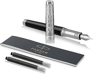 PARKER 派克 Premier 钢笔,方格花纹金属漆面,配有优质笔尖,带有黑墨水墨囊