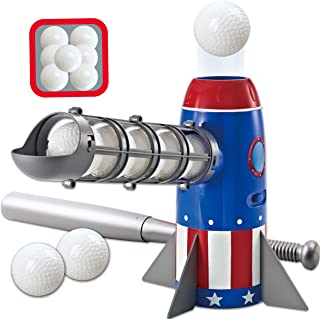 JOYIN 火箭自动投手棒球训练玩具套装,带棒球投球机,可折叠望远镜塑料棒球棒和 7 个塑料棒球,适合儿童后院户外投手游戏