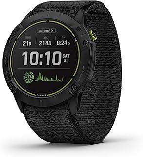 Garmin 佳明 Enduro,Ultraperformance 多功能运动 GPS 手表,太阳能充电,电池寿命长达 80 小时,GPS 模式碳灰色 DLC 钛合金,黑色超贴合尼龙带