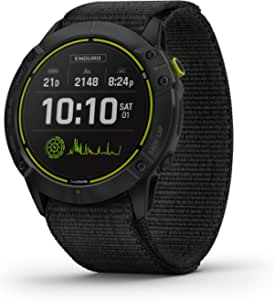 GARMIN 佳明 Enduro Ultraperformance Multisport GPS 手表,太阳能充电,GPS 模式下电池寿命长达 80 小时,碳灰色 DLC 钛,黑色,超贴合尼龙表带
