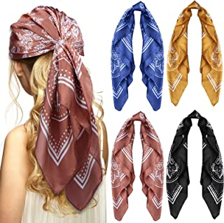 4 件丝质触感围巾中号方形围巾头巾波西米亚风格头巾,适合女士女孩,27.5 × 69.8 厘米