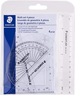 STAEDTLER 数学套装,4 件便携式钱包,适合学校和家庭使用,569 WP4,透明