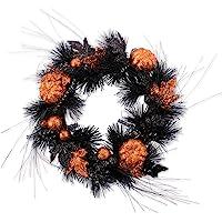 dii 装饰骨架40.6 cm 快乐狩猎花环带黑色羽毛前门或室内墙壁装饰至 celebrate 万圣节