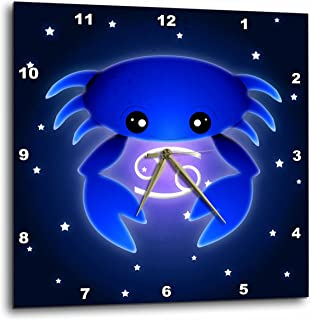 "3dRose dpp_28551_2 Cute Astrology Cancer Zodiac Sign Blue Crab Wall Clock, 13 by 13"""