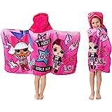 L.O.L. Surprise! 柔软的全棉连帽包裹浴巾,粉红色,24英寸 x 50英寸(约60.96 x 1.27米)