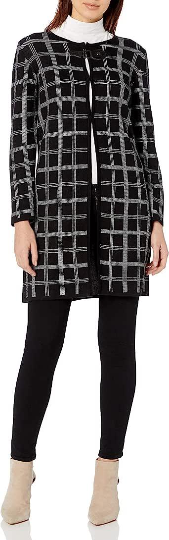 Kasper 女士细网格提花长袖缺口领夹克