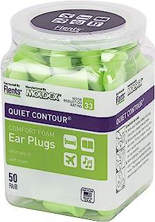 Flents 耳塞,50对,用于睡觉,打呼,、大声喧,、旅行,音乐会,施工和学习的环境,耳廓轮廓,NRR 33
