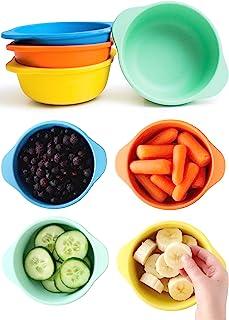 ECO Matters【微波炉*】幼儿竹制零食杯 - 4件套(10盎司)(约283.5克) - 适合儿童使用的竹制零食碗 - 可用于洗碗机和微波炉 - 不含双酚 A *