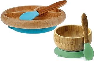 Avanchy 喂养竹子硅胶婴儿训练勺,带盘子和碗