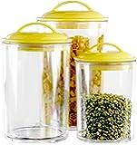 Calypso Basics 3 件丙烯酸罐套装,紫红色盖 柠檬色 3.5cups, 5.5cups, 9 cups 1…