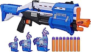 NERF 热火 TS-R Blaster和Llama目标-泵动冲击器 玩具软弹枪,3个Llama目标,8个官方巨型飞镖-适用于青少年,青少年,成人