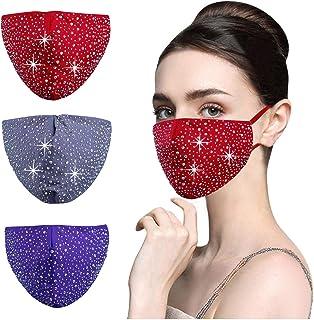 YUESUO 黑色水钻面罩可重复使用可水洗闪光亮片闪亮钻石设计,送给女士的好礼物