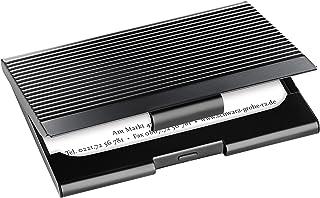 SIGEL VZ134 名片盒,金属带凹槽表面,可容纳20张卡片(*大9.1 x 5.6厘米),黑色