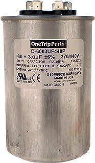 OneTrip Parts USA Run 电容 60+3 UF 60/3 MFD 370 VAC / 440 VAC 2-1/2 英寸圆形重型电池