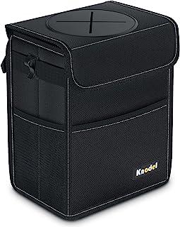 Knodel 汽车垃圾桶 防水自动垃圾袋 带盖汽车垃圾桶 防漏汽车收纳袋 自动垃圾袋悬挂(大号,黑色)