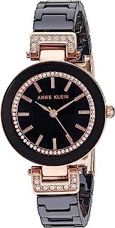 Anne Klein Women's Swarovski Crystal Accented Rose Gold-Tone and White Ceramic Bracelet Watch