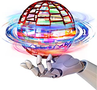 Yamazakura FLYNOVA PRO 飞行球玩具户外游戏飞行球带 360° 旋转内置 RGB 灯魔术玩具儿童青少年成人室内玩具(红色)