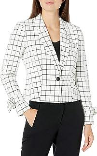 NINE WEST 女式 1 粒扣缺口领格子短款夹克,带腕带和前袋