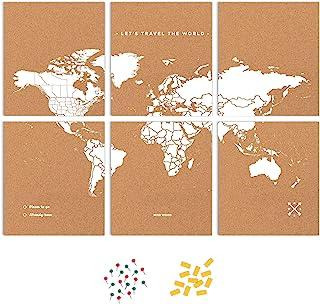 Push Pin 旅行地图套件包括:软木世界旅行地图、世界旗帜、纪念碑和食物贴纸,适合旅行者(白色,L (17.7 x 23.6 英寸)(白色,拼图 XL 标准)