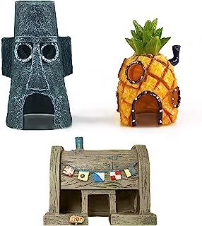 3 件装海绵宝宝水族箱装饰品 - 鱼缸海绵宝宝菠萝屋和乌贼隐藏和Krusty Krab 装饰