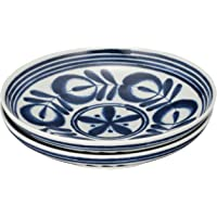 西海陶器 中号盘 白色/蓝色 约直径19.5×高3.8厘米 有田烧 摩登蓝色 易盛放的盘子(2件套)