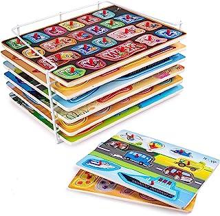 Hoovy 优质婴儿拼图六合一套装 - 6 种不同的中性款主题*旋钮拼图,适合男孩和女孩(初回版)