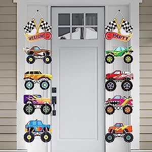 OSNIE 怪兽卡车派对装饰用品 男童格子旗帜 怪物卡车 纸板 切口 门廊标志 欢迎悬挂横幅 适用于赛车 室外 室内 家居 卧室装饰