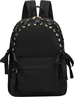 IN.RHAN 女式背包,系绳蝴蝶结铆钉,经典防水旅行学校背包休闲背包