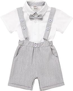 男婴洗礼服装蝴蝶结连衫裤背带裤婚礼派对燕尾服套装熊服装套装