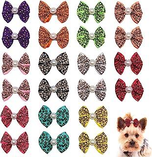 PET SHOW 豹纹狗蝴蝶结 带夹子 适用于小型中型犬 小狗蝴蝶结法国发夹 适用于小狗猫生日派对*配件 10 对