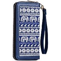 女式钱包大号帆布手拿包钱包长款钱包手机包带腰包,可用于手机、现金、硬币