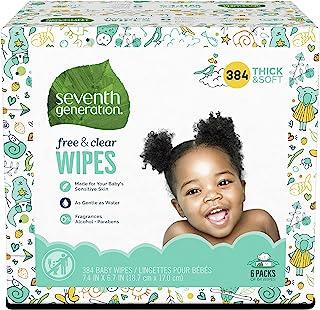 Seventh Generation *七世代自由透明婴儿湿巾带翻盖分配器 无香型 384份 384
