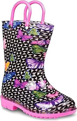 ZOOGS 儿童带手柄雨靴,小童和幼儿,男孩和女孩 蝴蝶 5 Toddler