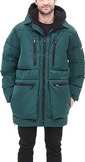 DKNY 男式超低全长夹棉大衣,带夏尔巴内衬兜帽