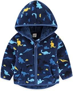 BeiVSlley 幼儿男孩女孩厚连帽羊毛夹克外套儿童可爱印花保暖全拉链外套