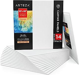 Arteza 高级帆布板 25.4 x 25.4 厘米,白色空白包装 14 件,* 棉,12 盎司(约 348.7 克)底漆,7 盎司(约 198.4 克)无底漆,无酸,适用于丙烯酸和油画,专业艺术家,业余画家和初学者