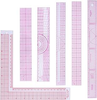 6 件装斜面透明尺测量工具尺套装塑料英寸公制尺缝纫尺带 2 个比例适合缝纫裁缝工艺品