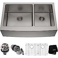 美国Kraus 克劳思1.5mm厚304不锈钢拉丝双盆厨房水槽 手工制作 台下式安装 KHF203-36 配304不锈钢…
