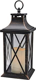 14 英寸(约 35.6 厘米)无焰蜡烛定时器,塑料 LED 蜡烛和支架,装饰性蜡烛灯 LED 室内和室外吊灯感恩节和圣诞节装饰(古铜拉丝)