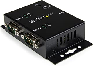 StarTech.com 2-Port Industrial Wall Mountable USB to Serial Adapter Hub with DIN Rail Clips, Black (ICUSB2322I)