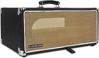 Sound Town 复古 4U Amp 机架保护套,12.5 英寸深,带橡胶脚,防尘套,支架,黑色 (STVRC-4BK)