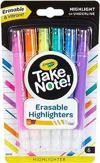 Crayola Take Note 可擦除荧光笔,酷炫学校用品,凿尖标记笔,6支装,2支装