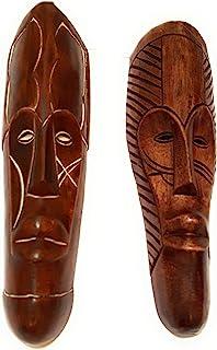 NOVARENA 非洲艺术木雕像 加蓬 刚果树林木墙面具和雕塑 - 非洲家用面具装饰 Set of 3 Brown Fang Wall Masks 12英寸