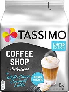 Tassimo 胶囊咖啡店精选,类型白巧克力椰子拿铁,40 粒咖啡胶囊,5 包(5 x 8 杯饮料)-仅短时间内可用
