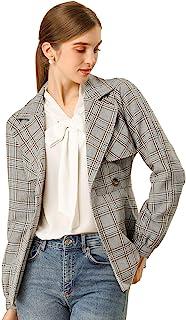 Allegra K 女式双排扣带腰带格子夹克外套格子外套