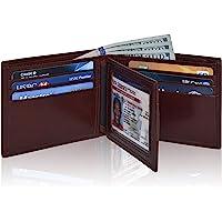男式超薄 RFID 钱包 - 真皮前袋双折钱包