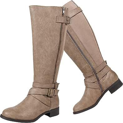 Luoika 女式宽及膝高筒靴 - 低跟弹性松紧带侧拉链冬季靴。 (超宽小牛)