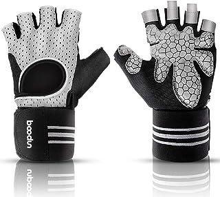 AMZGO 健身手套带手腕支撑、举重健身手套、健身训练手套、软垫手掌、透气防滑,适合男士和女士